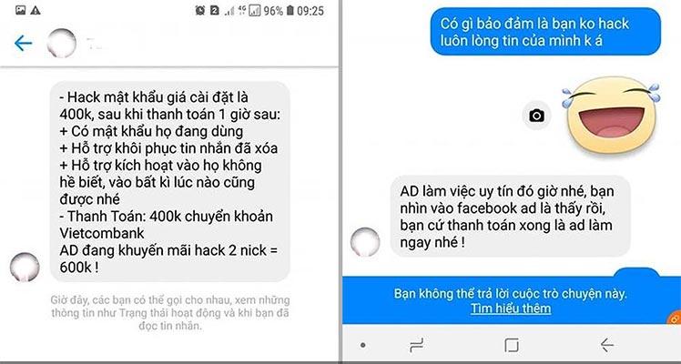 Lừa đảo bằng hình thức hack đọc trộm tin nhắn Zalo Facebook của vợ, chồng, người yêu